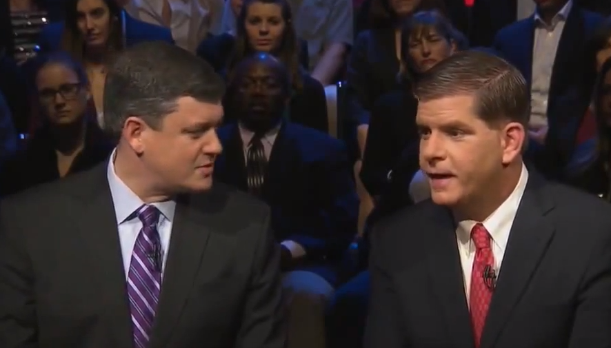 John Connolly, left, and Marty Walsh argue about Connolly's work as a lawyer during last week's WGBH debate.