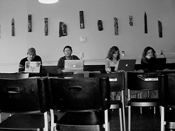 cafe patrons on computers