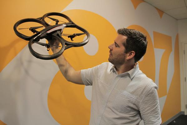 Ben Saren shows off the drone