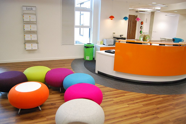 a colorful office