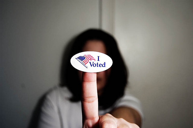 woman with I voted sticker