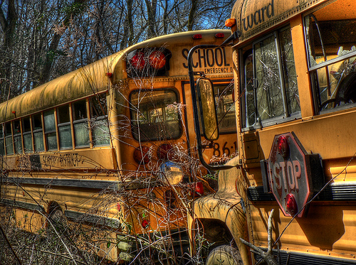 Some unused schoolbuses