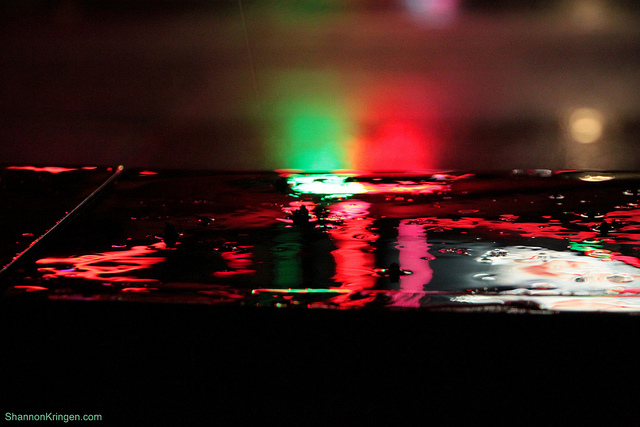 Neon lights on water