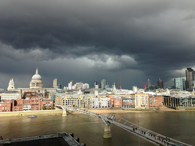 Storm clouds over a city