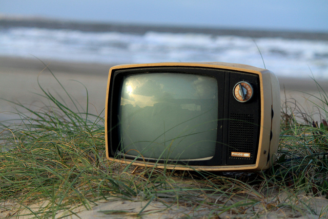 Television on the beach. Credit: xan lyons / Flickr Creative Commons