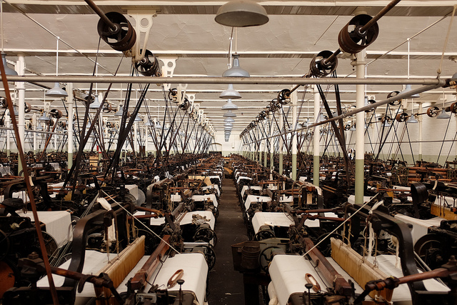 An example of a 19th century textile mill that Bessen connects to modern technology displacing workers. Credit: Chilanga Cement / Flickr Creative Commons
