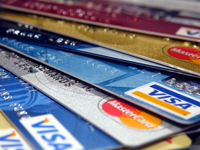A rainbow of credit cards.