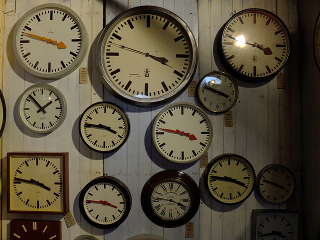 Clocks on a wall.