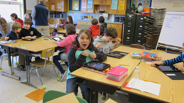 4th grade students get tablets in the classroom.