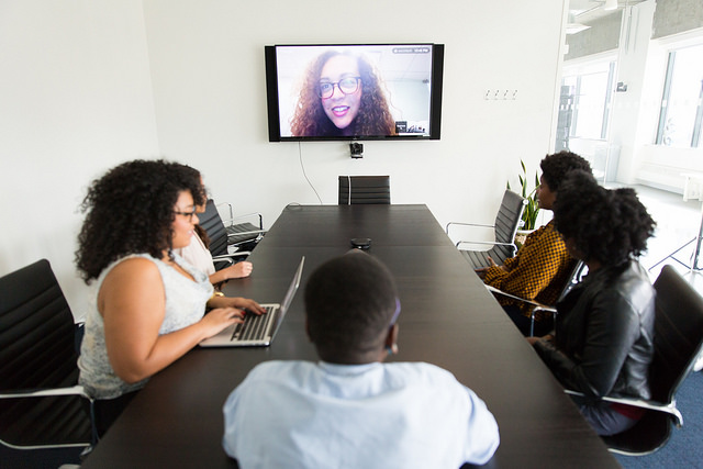 Women skype conference call