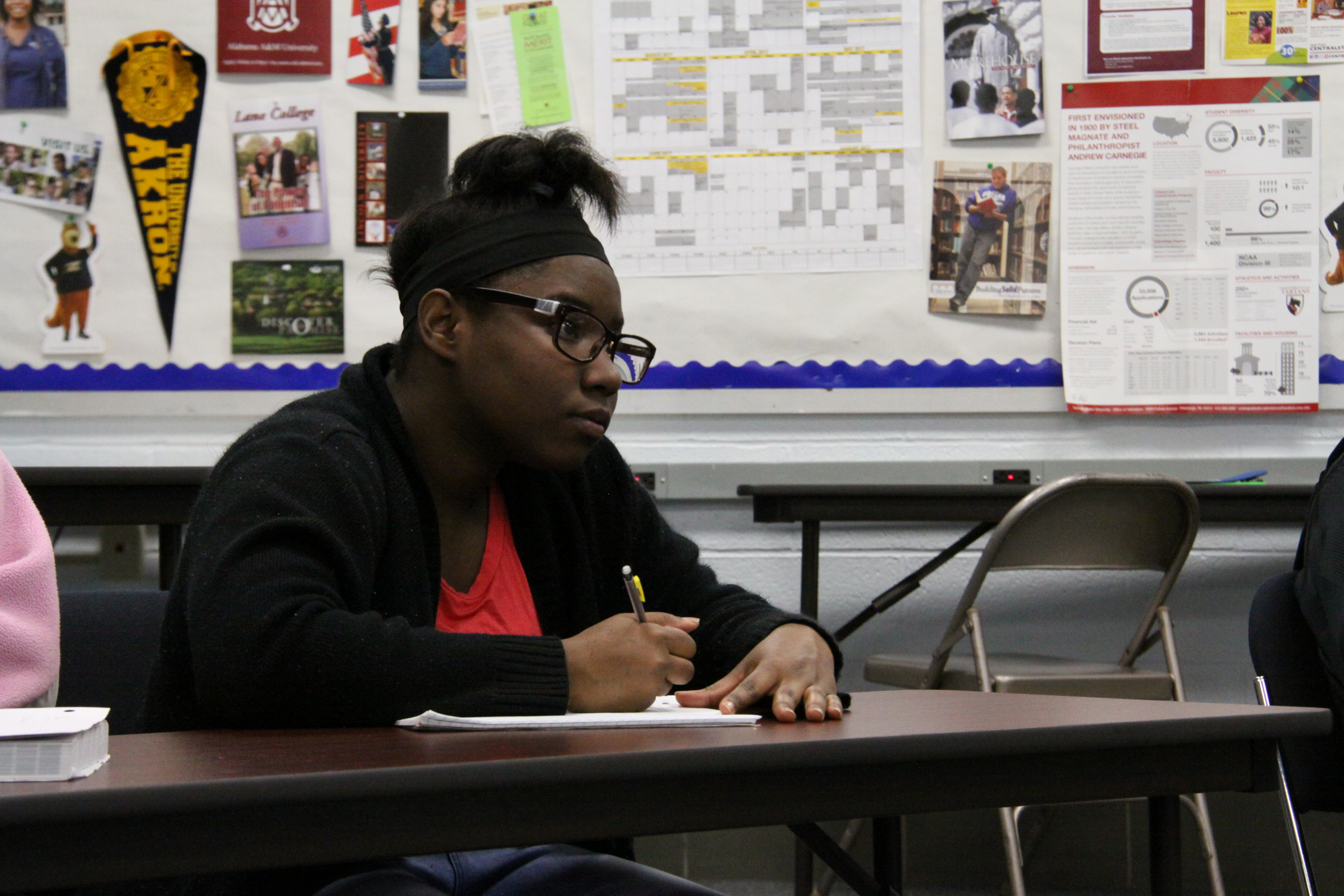 Aliah Barker, 17, a senior at Jefferson High School in Ohio, is taking college classes while she is still in high school. (Kirk Carapezza/WGBH)